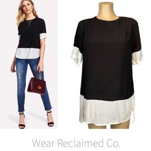 Black & White Colour Blocked Faux Layered Top